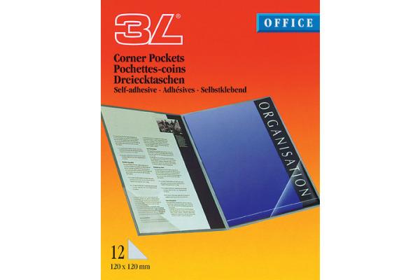 3L Dreieck Corner-Pockets 10x10cm 10011 transp. 12 Stück