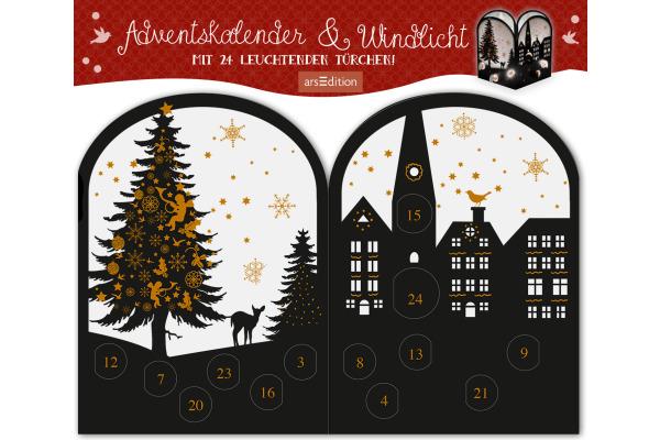 ARS EDITI Adventskalender 28x24cm 489119111 Teelichthäuschen Abendstunde