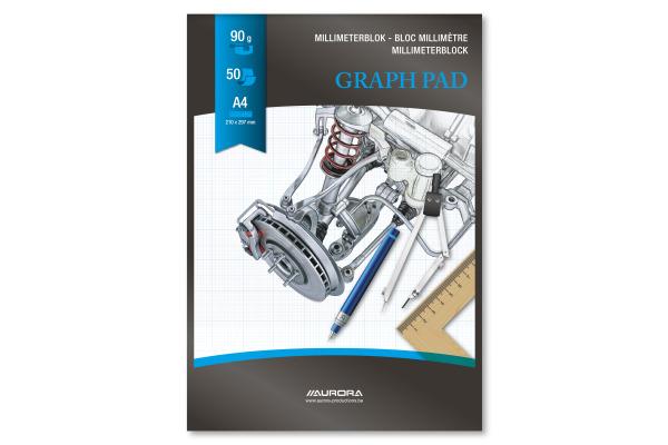 AURORA Millimeterpapier A4 MID51 90g weiss 50 Blatt