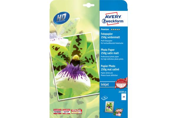 AVERY ZW. InkJet Fotopapier A4 2559-20 250g,matt, weiss 20 Blatt