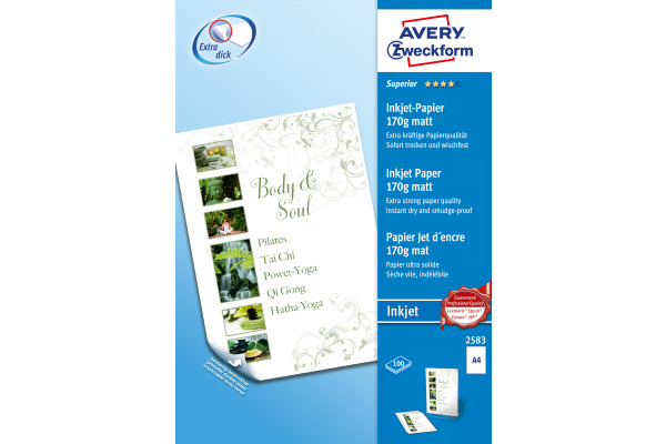 AVERY ZW. InkJet-Papier A4 2583Z 170g, weiss 100 Blatt
