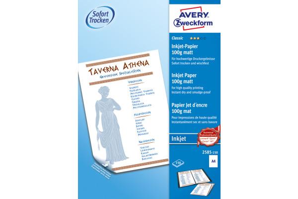 AVERY ZWECKFORM InkJet-Papier A4 2585-150 100g, weiss 150...
