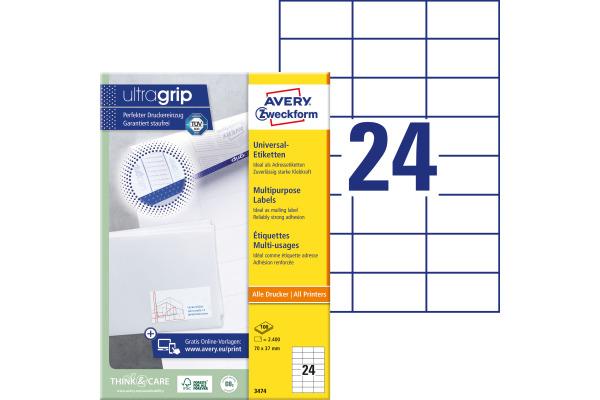 Avery Zw Etiketten 70x37mm 3474 Universal Weiss 100blatt 24st