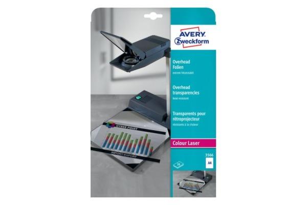 AVERY ZW. Overhead-Folien A4 3566 Farblaser, 0,13mm 20 Stk.