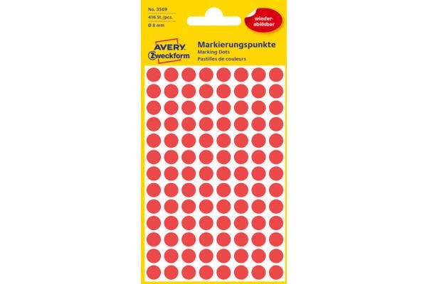 AVERY ZW. Markierungspunkte 8mm 3589 Rot, ablösbar 4 Blatt