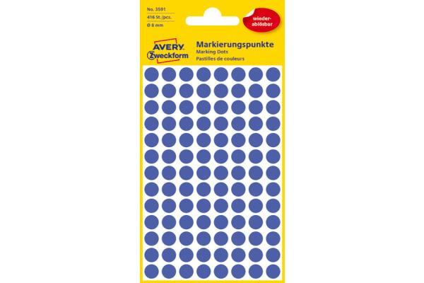 AVERY ZW. Markierungspunkte 8mm 3591 Blau, ablösbar 4 Blatt