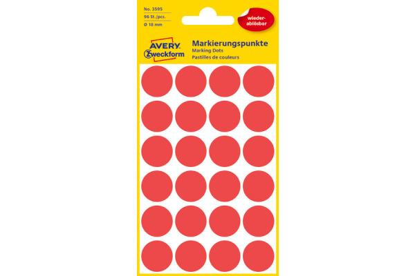 AVERY ZW. Markierungspunkte 18mm 3595 Rot, ablösbar 4 Blatt