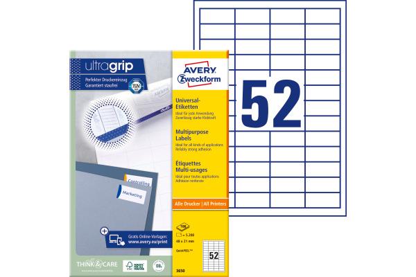 AVERY Zweckform Universal Etiketten 48 x 21 mm weiß 5.200 Etiketten