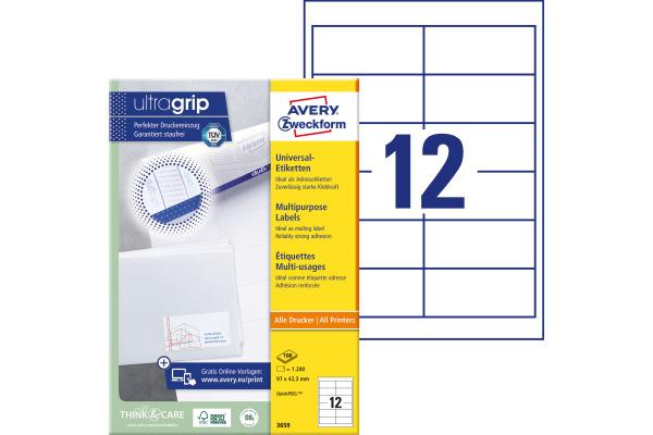 Avery Zw Universal Etiketten 97x42 3mm 3659 Weiss A4 100blatt 12stück