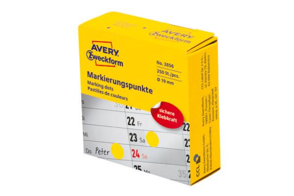 AVERY ZW. Markierungspunkte 19mm 3856 gelb, Spender 250 Stück