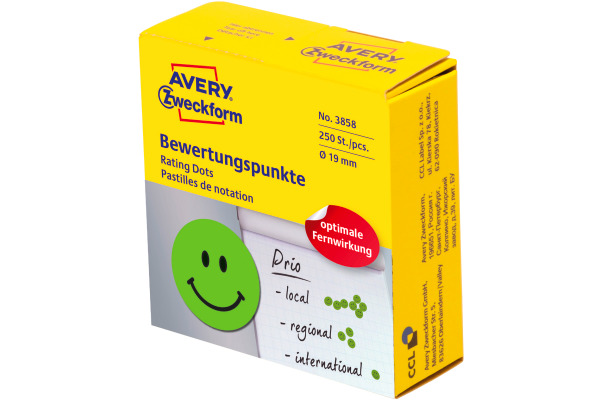 AVERY ZW. Bewertungspunkte Gesicht 19mm 3858 grün, Spender 250 Stück