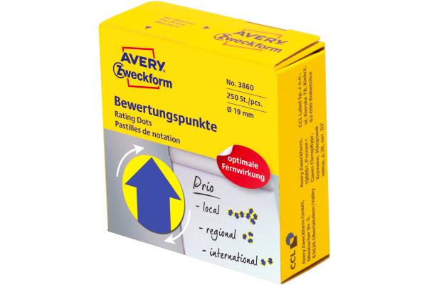 AVERY ZW. Bewertungspunkte Pfeil 19mm 3860 gelb, Spender 250 Stück