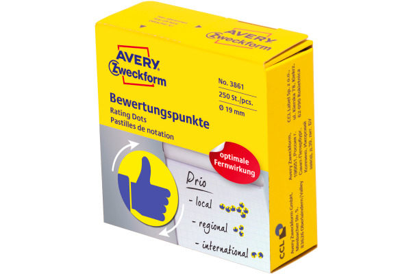 AVERY ZW. Bewertungspunkte Daumen 19mm 3861 gelb, Spender 250 Stück