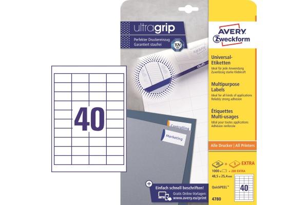 AVERY ZWECKFORM Etiketten (1000 Stück) A4 4780...