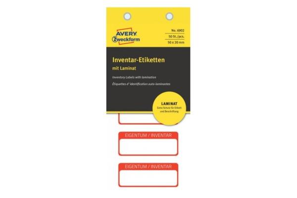 AVERY ZW. Inventar-Etiketten 50x20mm 6902 rot 10Bl.50Stk.
