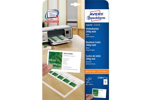 Avery Zw Visitenkarten Matt 85x54mm C32011 10 Univer 200g Weiss 10blatt 10stück
