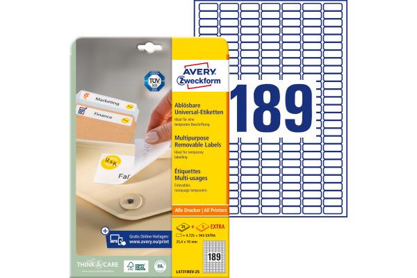 AVERY ZWECKFORM Universal-Etiketten 25.4x10mm L4731REV-25...