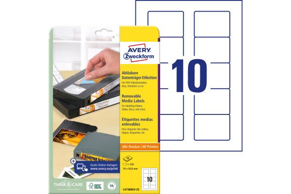 AVERY ZWECKFORM Disketten-Etiketten 70x50,8mm L4738REV-25 non-perm. 250 Stk./25 Bl.