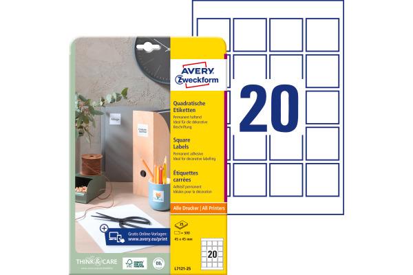 AVERY ZWECKFORM Etiketten QR Code 45x45mm L7121-25 500...