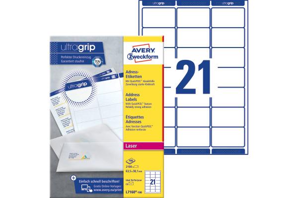 Avery Zw Etiketten Adress 63 5x38 1mm L7160 100 Quickpeel Weiss 100blatt 21st