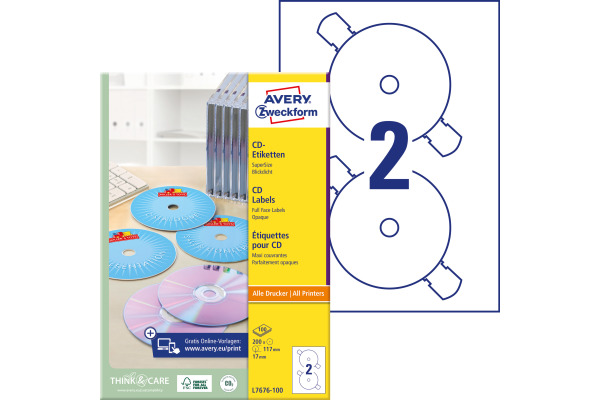 AVERY ZWECKFORM CD DVD Etiketten univ. 117mm L7676-100...