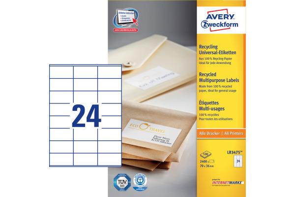 AVERY ZW. Etiketten 70x36mm LR3475 recycling 2400 Stück