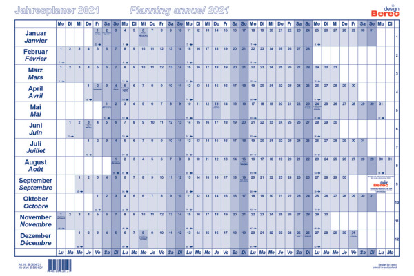 BEREC Papierjahresplan A4 B5604/21 2021, blau
