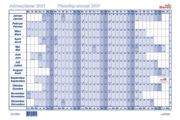 BEREC Papierjahresplan A5 B5605/21 2021, blau