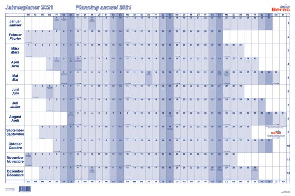 BEREC Jahresplan quer 90x60cm B5666/21 2021, blau