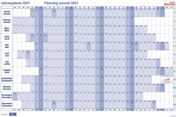 BEREC Jahresplan quer 90x60cm B5666TF21 2021, blau