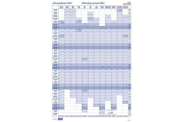 BEREC Jahresplan hoch 60x90cm B5668TF21 2021, blau