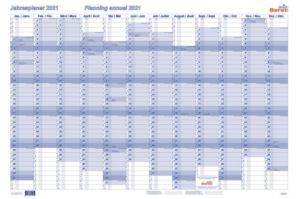 BEREC Jahresplan quer 90x60cm B5670TF21 2021, blau