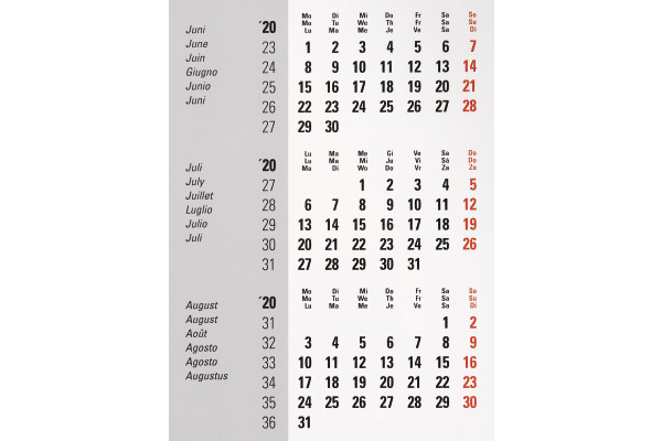 BIELLA Pultkalender Desktop Frame 0883511.0 18x11 cm, 3M/1S, Inhalt, 2020