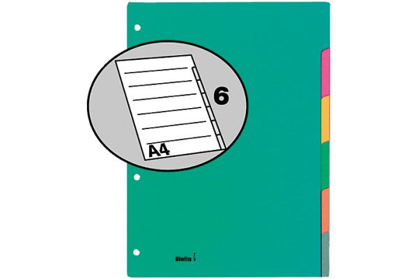 BIELLA Register Karton farbig A4 46044600 6-teilig, blanko