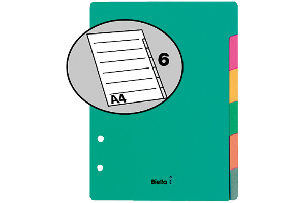 BIELLA Register Karton farbig A5 46052600 6-teilig