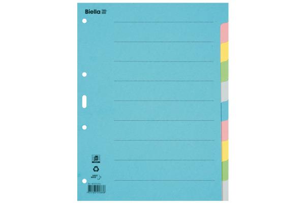 BIELLA Register Karton farbig A4 46141000U 10-teilig, blanko