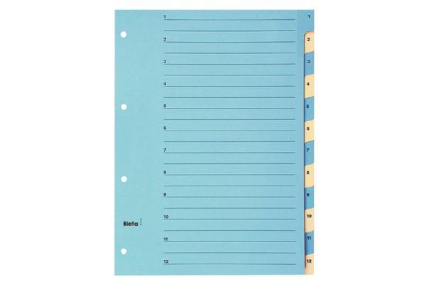 BIELLA Register Karton farbig A4 46244100U 1-12