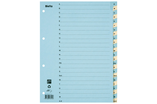BIELLA Register Karton farbig A4 46244400U A-Z