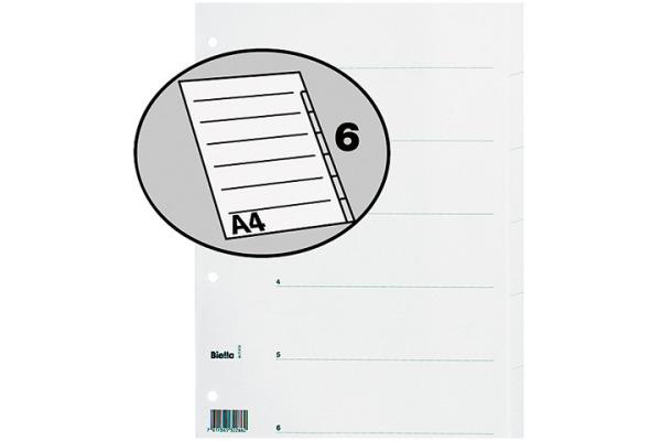 BIELLA Register Karton weiss A4 46540601U 6-teilig, blanko