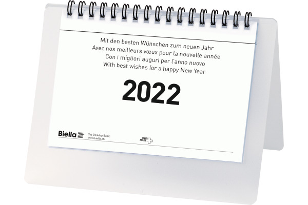 BIELLA Tischkalender Desktop Basic 887061000022U Wire-O 17,7x13,5cm, 2022