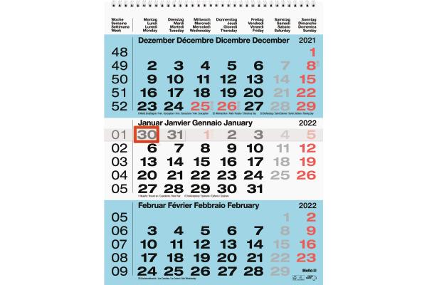 BIELLA 3-Monatskalender blau d f i e 889020050022U...