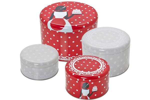 BIRKMANN Gebäckdosen-Set 7581226 rot/weiss 4 Stück