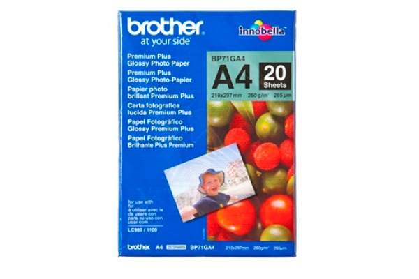 BROTHER Photo Paper glossy 260g A4 BP71-GA4 MFC-6490CW 20 Blatt
