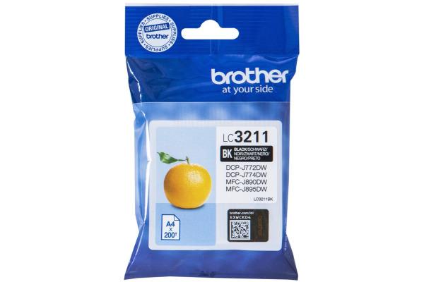 BROTHER Tintenpatrone schwarz LC-3211BK DCP-J774DW 200 Seiten