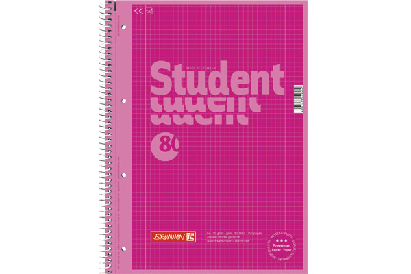 BRUNNEN Collegeblock A4 1067928126 kariert, 90g, pink 80...