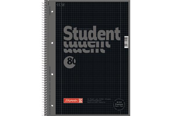 BRUNNEN Collegeblock A4 1067928190 kariert, 90g, onyx 80...