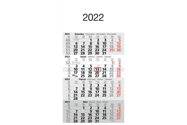BÜHNER 4-Monatskalender ms. M4MF 30x59cm, 2021