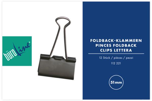BÜROLINE Foldback-Klammer 51mm 112221 schwarz