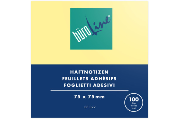 BÜROLINE Haftnotizen 75x75mm 133029 gelb 100 Blatt