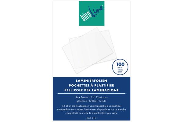 BÜROLINE Laminierfolie 54x86mm 351410 125my, glanz 100 Stück